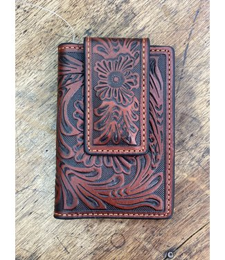 M&F Western Tan Floral Front Pocket Wallet with Money Clip