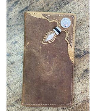 Stockyards Rawhide Checkbook Wallet; Size : Brown