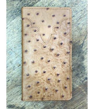 Ostrich Print Checkbook Wallet; Size : Peanut