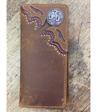 Diamond T Outfitters Tearin' Loose Checkbook Wallet; Size : Bark