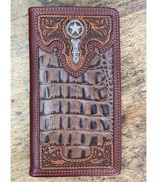Southern Desperado Checkbook Wallet; Size : Brown
