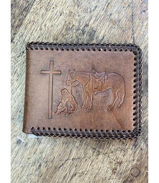 M&F Western Bi Fold Whip Stitch Praying Cowboy Wallet