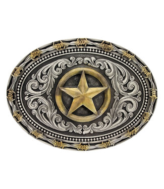 Two Tone Barb Texas Star attitude buckle