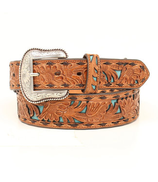 M&F Western Chocolate Turquoise Floral Inlay with Buckstitch