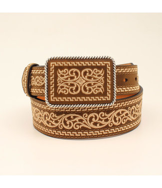 M&F Western Tan Embroidered belt with Buckle