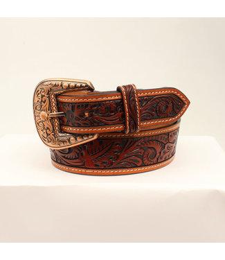 M&F Western Chestnut Floral Tooled Belt