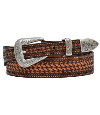 M&F Western Chestnut Basketweave Taper Belt