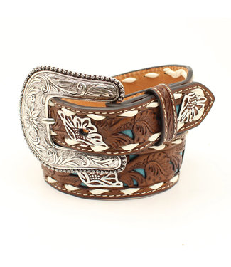 Nocona Kids Turquoise Floral Inlay with Buckstitch Belt