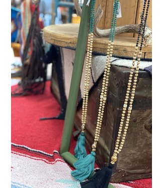 Diamond T Outfitters Bohemia Beaded Teal Tassel Necklace