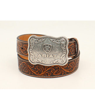 M&F Western Ariat Chocolate Tooled Belt With Ariat Buckle