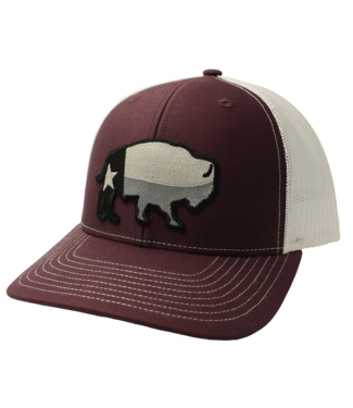 Red Dirt Hat Co Maroon Texas Buffalo Red Dirt Cap