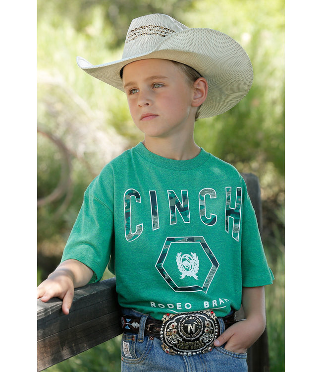 Cinch Boys Heather Green Tee