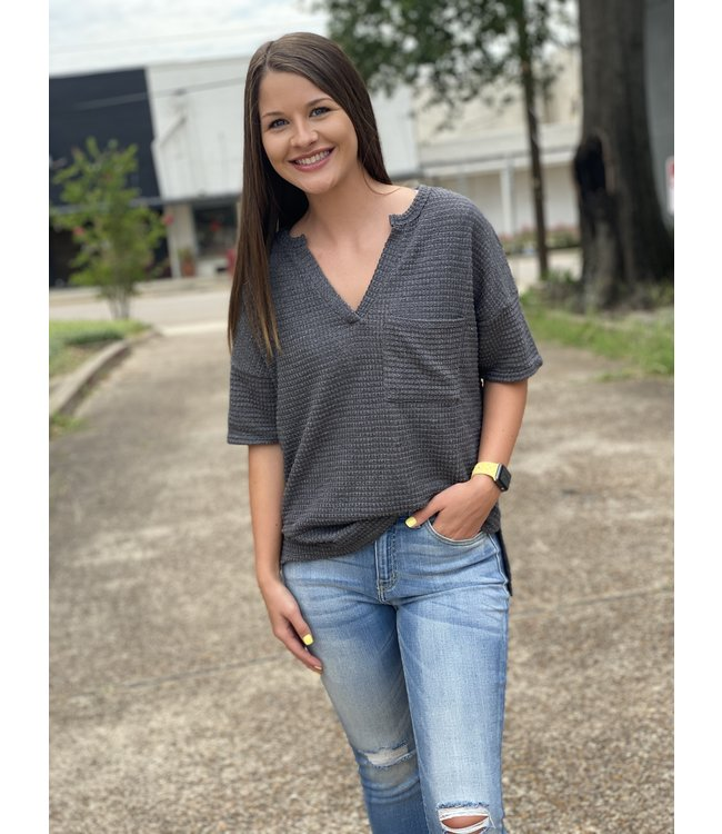 Diamond T Outfitters Charcoal Noonday Blouse