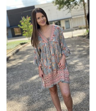 Dress Forum Paisley Ruffled Mini Dress
