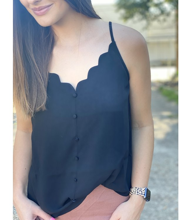 Blue Pepper Scallop Cami In Black
