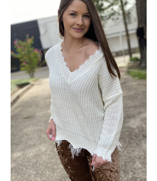 Top Style Frayed V Neck Sweater