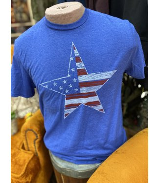 Mason Jar Label American Flag Star Tee