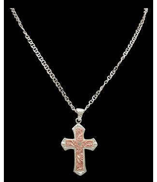 M&F Western Silver Strike Rose Gold Necklace