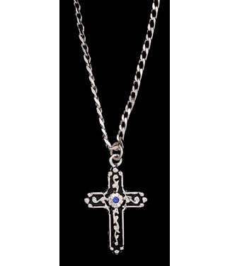 M&F Western Silver Strike Blue Stone Necklace