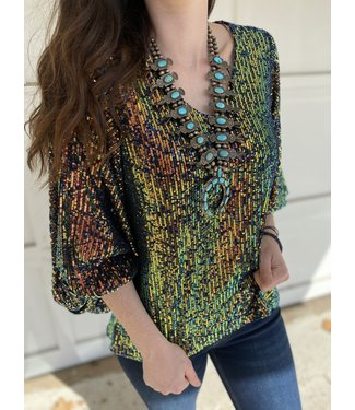 Diamond T Outfitters The Francesca Shimmer Top