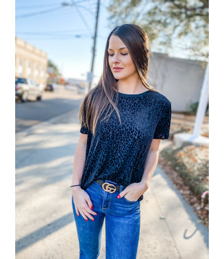 Diamond T Outfitters Burned Out Leopard Tee Black