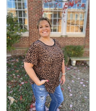 Diamond T Outfitters Burned Out Leopard Tee Mocha Plus