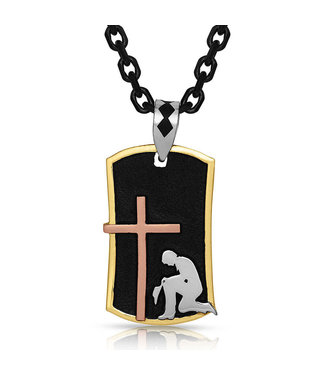 Kneeling At The Cross Dog Tag Necklace