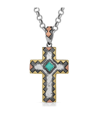 Antiqued Serrated Cross Necklace