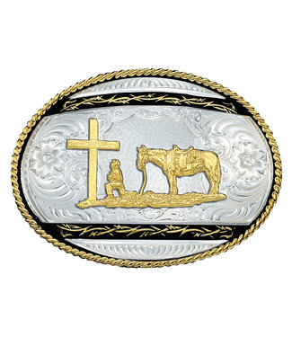 Barbed Edge on Black Western Belt Buckle with Christian Cowboy