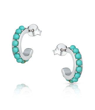 Studded In Turquoise Mini Hoop Earrings