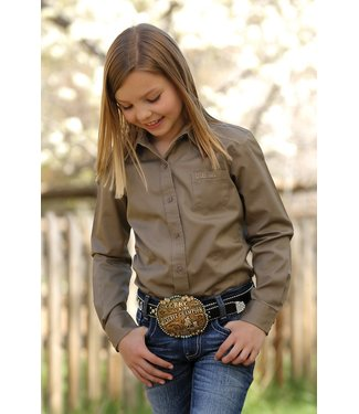 Cinch Girls Khaki Button Up CTW6640005