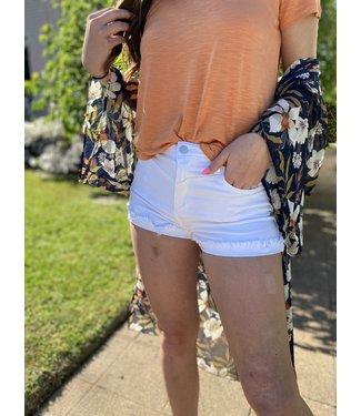 Cello White Cuffed Shorts