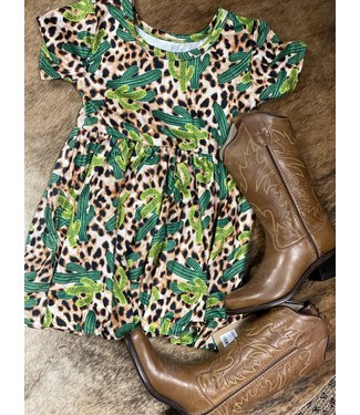 Diamond T Outfitters Leopard & Cactus Flare Dress