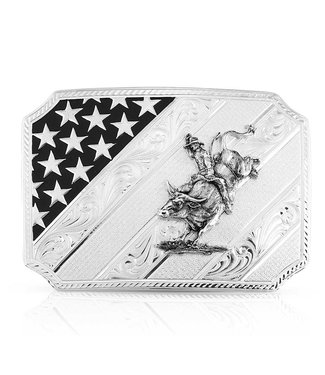46100-205H All American Flag Bullrider Silver