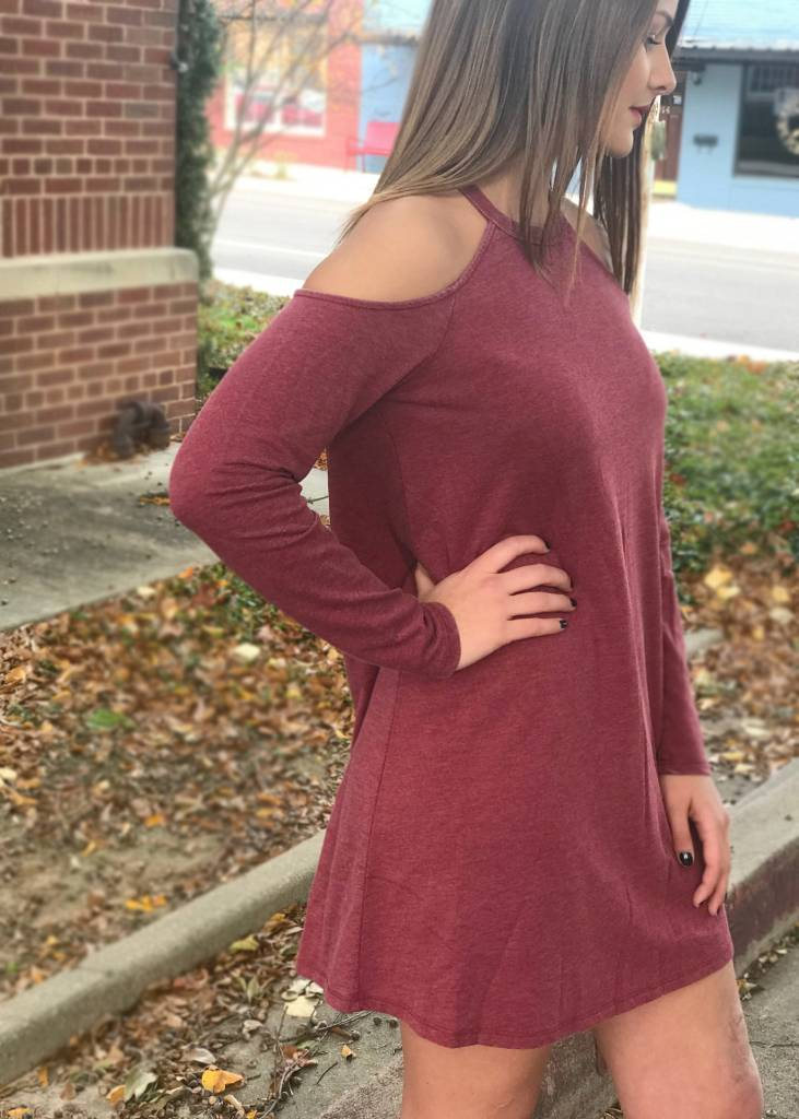 Diamond T Outfitters The Cold Shoulder Dress in Ruby