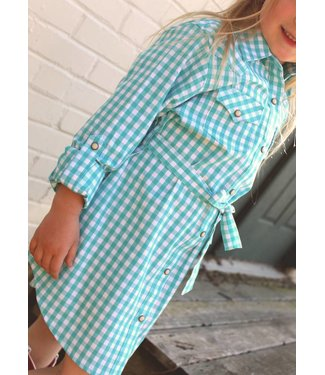 Diamond T Outfitters Turquoise Gingham Dress