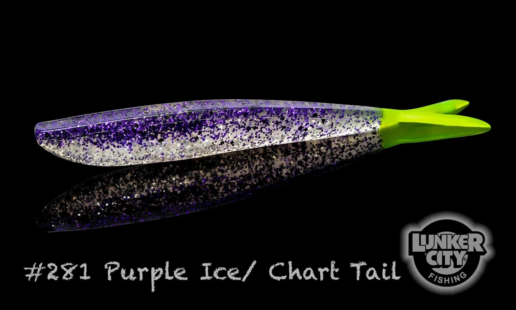 """Lunker City Fishing Specialties Fin-S 4"""" Purple Ice/Chartreuse Tail #281"""