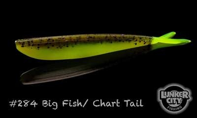 Lunker City Fishing Specialties Fin-s 4'' Big Fish/Chartruese Tail # 284