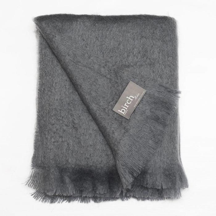 Slate Grey Mohair Throw