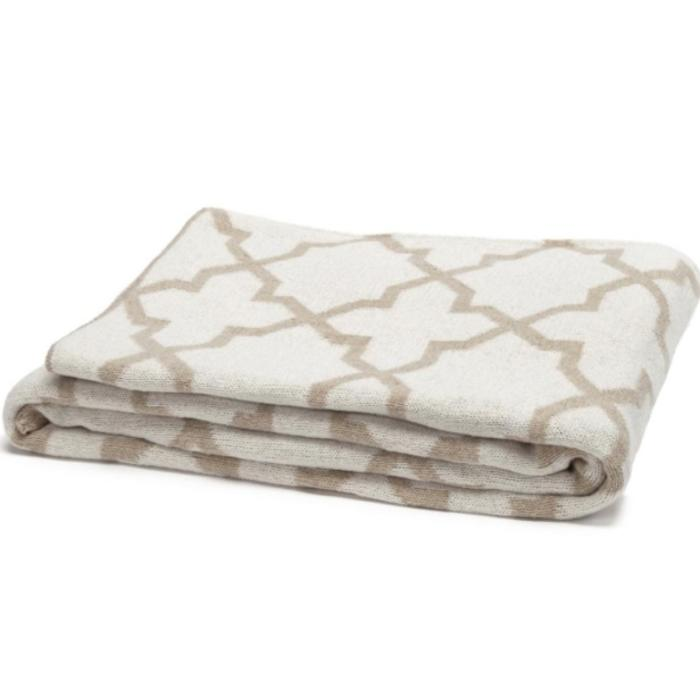 Eco Morocco Reversible Throw, milk/flax color