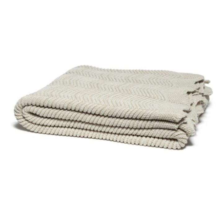 Eco Pointelle with Scalloped Edge Throw, flax color