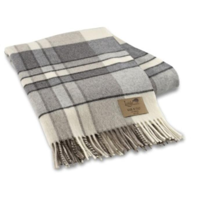 GRAY MOD PLAID LAMBSWOOL THROW