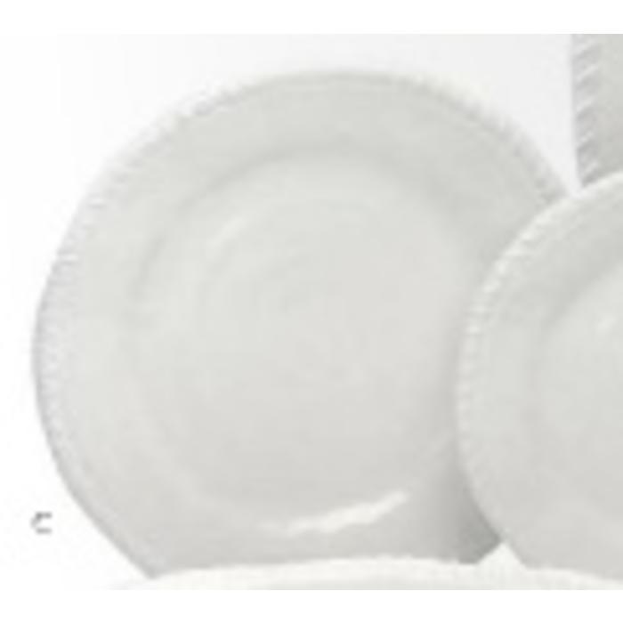 Melamine - White rope round dinner plate, white