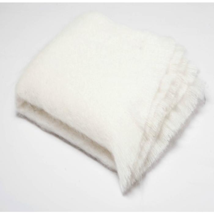 Birch Mohair Throw, clear ivory