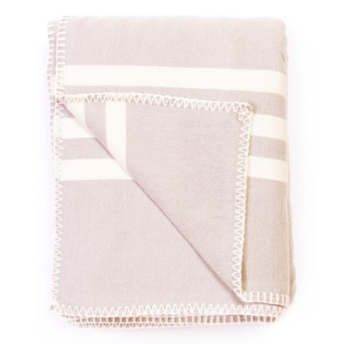 SUPER SOFT HEMSTITCH THROW, BEIGE-ECRU STRIPES 51 x 67