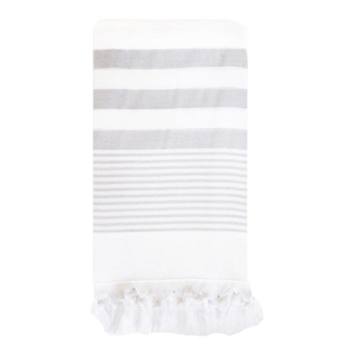 Beach Club Towel, white with gray stripes