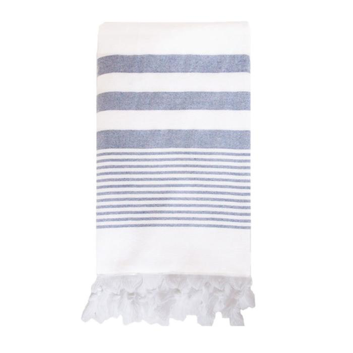 Beach Club Towel, white with navy stripes