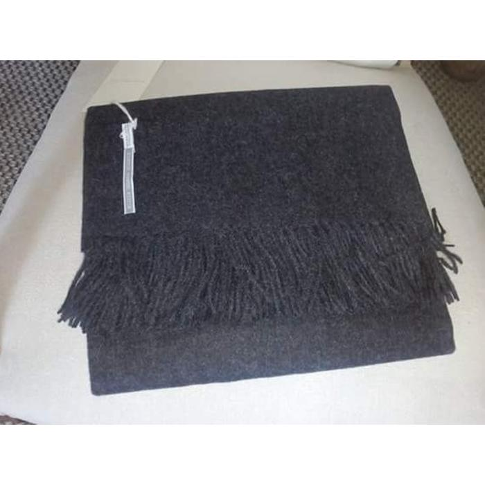 Alpaca Throw Solid - Smokey Heather