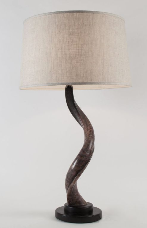 Kudu Horn Table Lamp With Wooden Round Base Augustgeorges