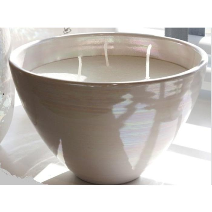 Candle Poured 3 Wick Pot, glossy white